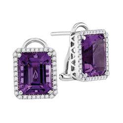 Womens Emerald Amethyst Diamond Stud Earrings 2-3/4 Cttw 14kt White Gold - REF-66N5F