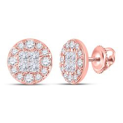 Womens Princess Round Diamond Cluster Earrings 1 Cttw 14kt Rose Gold - REF-65F5W