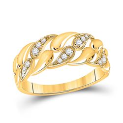 Womens Round Diamond Band Ring 1/6 Cttw 14kt Yellow Gold - REF-21M5H