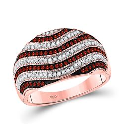 Womens Round Red Color Enhanced Diamond Wave Stripe Ring 1/2 Cttw 10kt Rose Gold - REF-43A5M
