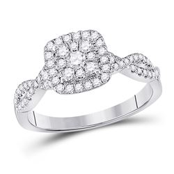 Womens Round Diamond Square Cluster Ring 1/2 Cttw 10kt White Gold - REF-42W5K