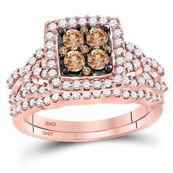Womens Round Brown Diamond Bridal Wedding Ring Band Set 1 Cttw 10kt Rose Gold - REF-60K9Y