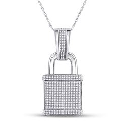 Mens Round Diamond Lock Padlock Charm Pendant 1-1/2 Cttw 10kt White Gold - REF-76R5X