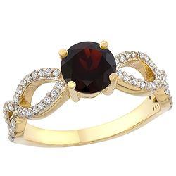 1.26 CTW Garnet & Diamond Ring 10K Yellow Gold - REF-49K9W