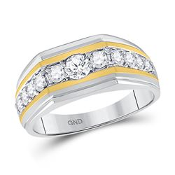 Mens Round Diamond Flat Band Ring 1 Cttw 10kt Two-tone Gold - REF-96K9Y