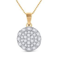 Womens Round Diamond Flower Cluster Pendant 1/3 Cttw 14kt Yellow Gold - REF-21H5R