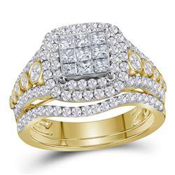 Princess Diamond Bridal Wedding Ring Band Set 1-1/2 Cttw 14kt Yellow Gold - REF-104W9K