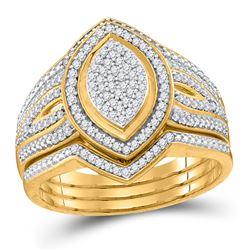 Diamond Cluster 3-Piece Bridal Wedding Ring Band Set 1/3 Cttw 10kt Yellow Gold - REF-38R9X