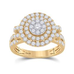 Womens Round Diamond Circle Cluster Ring 1-1/3 Cttw 14kt Yellow Gold - REF-93N9F