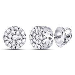 Womens Round Diamond Flower Halo Cluster Earrings 1/2 Cttw 14kt White Gold - REF-35M9H