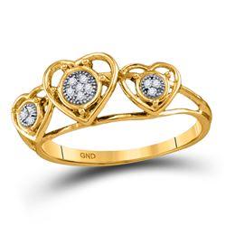 Womens Round Diamond Heart Ring .03 Cttw 10kt Yellow Gold - REF-7X9A