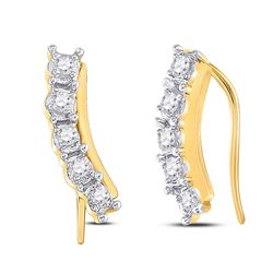 Womens Round Diamond Graduated Climber Earrings 1/6 Cttw 10kt Yellow Gold - REF-13Y9N