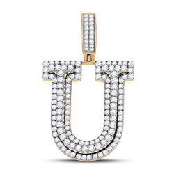 Mens Round Diamond Letter U Charm Pendant 1-7/8 Cttw 10kt Yellow Gold - REF-91N9F