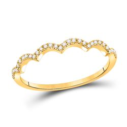 Womens Round Diamond Scalloped Stackable Band Ring 1/10 Cttw 10kt Yellow Gold - REF-8N5F