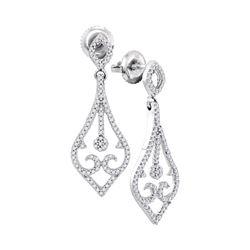 Womens Round Diamond Scroll Teardrop Dangle Earrings 1/3 Cttw 10kt White Gold - REF-19N5F