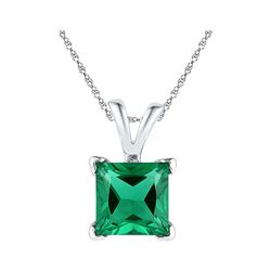 Womens Princess Lab-Created Emerald Solitaire Pendant 1-1/3 Cttw 10kt White Gold - REF-6N5F