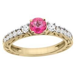 1.35 CTW Pink Topaz & Diamond Ring 14K Yellow Gold - REF-79Y5V