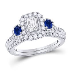 Emerald Diamond Bridal Wedding Ring Band Set 7/8 Cttw 14kt White Gold - REF-96X9A