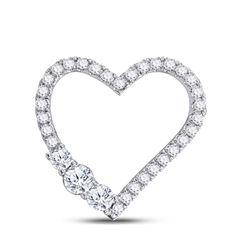 Womens Round Diamond 3-Stone Heart Pendant 1 Cttw 14kt White Gold - REF-84K5Y