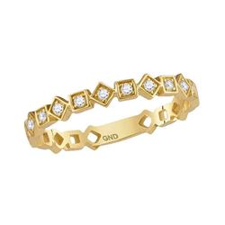 Womens Round Diamond Squares Stackable Band Ring 1/10 Cttw 14kt Yellow Gold - REF-15A9M