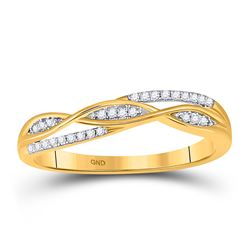 Womens Round Diamond Twist Band Ring 1/12 Cttw 10kt Yellow Gold - REF-9M5H