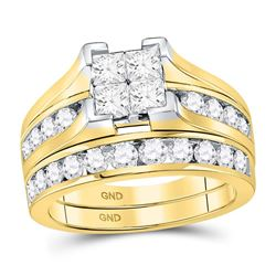 Princess Diamond Bridal Wedding Ring Band Set 2 Cttw 14kt Yellow Gold - REF-167W5K