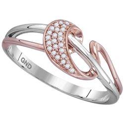 Womens Round Diamond Stripe Ribbon Band Ring 1/20 Cttw 10kt White Rose-tone Gold - REF-12R5X