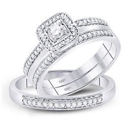 His Hers Round Diamond Solitaire Matching Wedding Set 1/2 Cttw 10kt White Gold - REF-41N5F