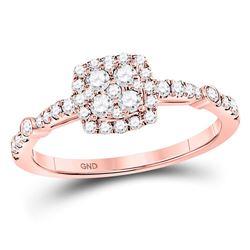 Round Diamond Square Cluster Bridal Wedding Engagement Ring 1/2 Cttw 14kt Rose Gold - REF-35K5Y