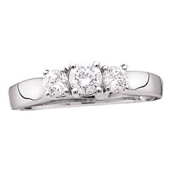 Round Diamond 3-stone Bridal Wedding Engagement Ring 3/4 Cttw 14kt White Gold - REF-73Y9N