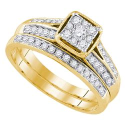 Round Diamond Bridal Wedding Ring Band Set 1/2 Cttw 14kt Yellow Gold - REF-51R9X