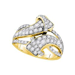 Womens Round Pave-set Diamond Bypass Strand Band 1-1/2 Cttw 14kt Yellow Gold - REF-98Y5N