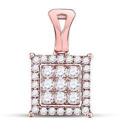 Womens Round Diamond Square Cluster Pendant 1/2 Cttw 14kt Rose Gold - REF-30M5H