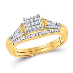 Round Diamond Bridal Wedding Ring Band Set 1/5 Cttw 14kt Yellow Gold - REF-44F5W