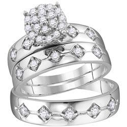 His Hers Round Diamond Cluster Matching Wedding Set 3/4 Cttw 10kt White Gold - REF-54W5K
