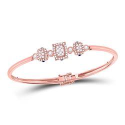 Womens Round Diamond Triple Cluster Bangle Bracelet 7/8 Cttw 14kt Rose Gold - REF-109R5X