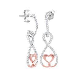 Womens Round Diamond Dangle Infinity Heart Earrings 1/4 Cttw 10kt White Rose Gold - REF-19N9F
