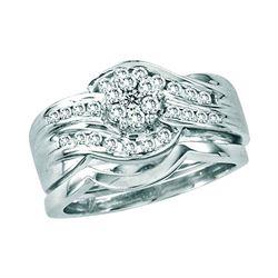 Round Diamond Bridal Wedding Ring Band Set 1/2 Cttw 14kt White Gold - REF-65Y5N