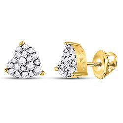 Womens Round Diamond Heart Earrings 1/4 Cttw 10kt Yellow Gold - REF-17R5X
