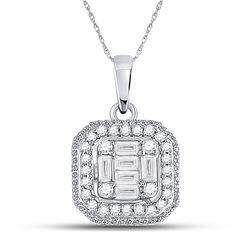 Womens Baguette Diamond Fashion Cluster Pendant 1/4 Cttw 14kt White Gold - REF-21F5W