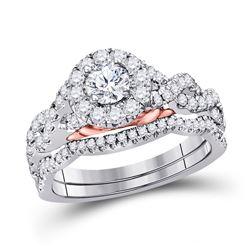 Round Diamond Bridal Wedding Ring Band Set 1 Cttw 14kt Two-tone Gold - REF-112R5X