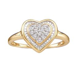 Womens Round Diamond Heart Frame Cluster Ring 1/10 Cttw 14kt Yellow Gold - REF-15N5F