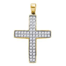 Womens Round Diamond Cross Pendant 1/2 Cttw 10kt Yellow Gold - REF-32K5Y