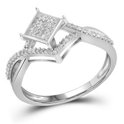 Womens Round Diamond Square Cluster Ring 1/4 Cttw 10kt White Gold - REF-16R9X