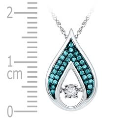 Womens Round Diamond Solitaire Teardrop Moving Pendant 1/5 Cttw 10kt White Gold - REF-16A9M