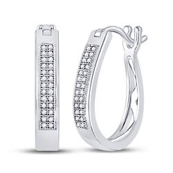Womens Round Diamond Hoop Earrings 1/6 Cttw 10kt White Gold - REF-16R9X
