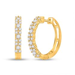 Womens Round Diamond Hoop Earrings 3/4 Cttw 14kt Yellow Gold - REF-49Y9N