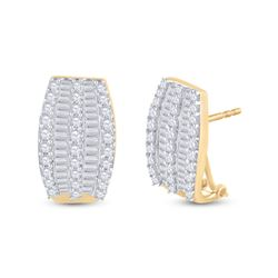 Womens Round Diamond French-Clip Hoop Earrings 1 Cttw 14kt Yellow Gold - REF-52R9X