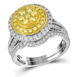 Womens Round Yellow Diamond Bridal Wedding Ring Band Set 1 Cttw 14kt White Gold - REF-93Y5N
