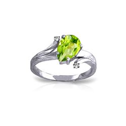 Genuine 1.51 ctw Peridot & Diamond Ring 14KT White Gold - REF-51R4P